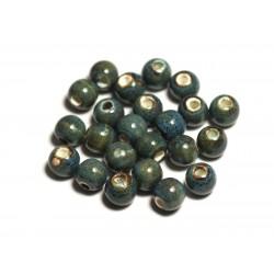 100pc - Perles Céramique Porcelaine Boules 6mm Bleu Turquoise Tacheté