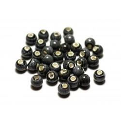 100pc - Perles Céramique Porcelaine Boules 6mm Gris Anthracite Tacheté