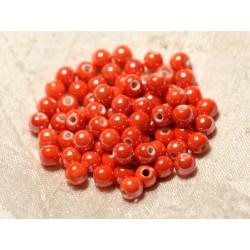 100pc - Perles Céramique Porcelaine Boules 6mm Orange irisé