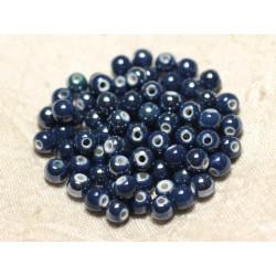 100pc - Perles Céramique Porcelaine Boules 6mm Bleu Marine Nuit irisé