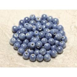 100pc - Perles Céramique Porcelaine Boules 6mm Bleu Lavande Pastel irisé