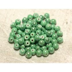 100pc - Perles Céramique Porcelaine Boules 6mm Vert Pomme irisé