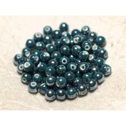 100pc - Perles Céramique Porcelaine Boules 6mm Bleu Vert Canard Paon Pétrole irisé