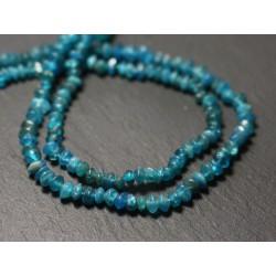 Fil 33cm 113pc env - Perles de Pierre - Apatite bleu vert Rondelles Bouliers 4-5mm - 8741140013063