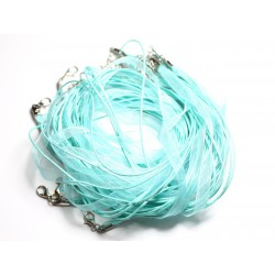 100pc - Colliers Tours de Cou 47cm Coton et Tissu Organza 7mm Bleu clair Turquoise