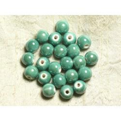 100pc - Perles Céramique Porcelaine Rondes irisées 12mm Vert clair Turquoise