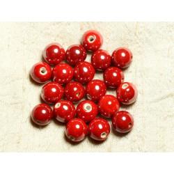 100pc - Perles Céramique Porcelaine Rondes 12mm Rouge vif irisé