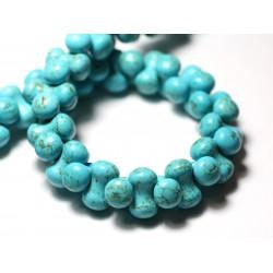 Fil 39cm 67pc env - Perles de Pierre Turquoise Synthèse Os Osselets 14x8mm Bleu Turquoise