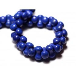 Fil 39cm 67pc env - Perles de Pierre Turquoise Synthèse Os Osselets 14x8mm Bleu nuit