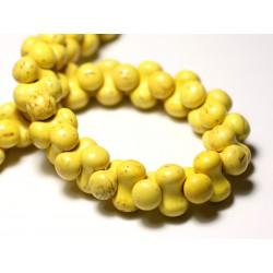 Fil 39cm 67pc env - Perles de Pierre Turquoise Synthèse Os Osselets 14x8mm Jaune