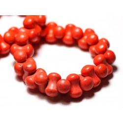 Fil 39cm 67pc env - Perles de Pierre Turquoise Synthèse Os Osselets 14x8mm Orange