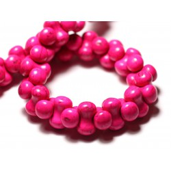 Fil 39cm 67pc env - Perles de Pierre Turquoise Synthèse Os Osselets 14x8mm Rose