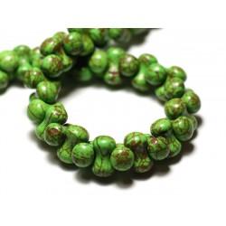 Fil 39cm 67pc env - Perles de Pierre Turquoise Synthèse Os Osselets 14x8mm Vert