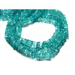 Fil 40cm 247pc env - Perles de Pierre - Apatite Carrés Heishi 3-4mm