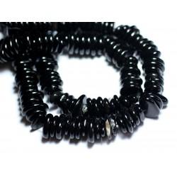 Fil 39cm 110pc env - Perles de Pierre - Onyx noir Chips Palets Rondelles 10-15mm