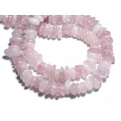 Fil 39cm 100pc env - Perles de Pierre - Quartz Rose Chips Palets Rondelles 8-14mm