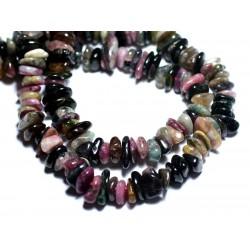 Fil 39cm 120pc env - Perles de Pierre - Tourmaline Multicolore Chips Palets Rondelles 8-14mm
