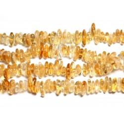 Fil 39cm 110pc env - Perles de Pierre - Citrine Chips Palets Rondelles 10-14mm