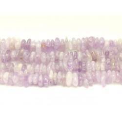 Fil 39cm 100pc env - Perles de Pierre - Améthyste claire Chips Palets Rondelles 8-14mm