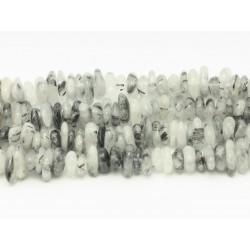 Fil 39cm 100pc env - Perles de Pierre - Quartz Tourmaline noire Chips Palets Rondelles 8-12mm