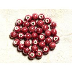 100pc - Perles Céramique Porcelaine irisées Rondes 8mm Rouge Rose Framboise