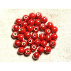 100pc - Perles Céramique Porcelaine irisées Rondes 8mm Rouge vif