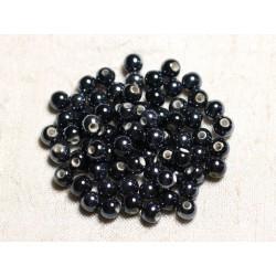 100pc - Perles Céramique Porcelaine Rondes 6mm Noir irisé