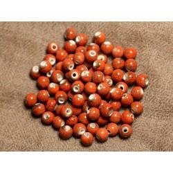 100pc - Perles Céramique Porcelaine Rondes 6mm Rouge Orange Marron