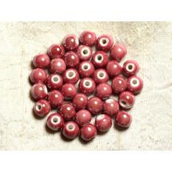 100pc - Perles Céramique Porcelaine irisées Rondes 8mm Rouge Rose Terracotta