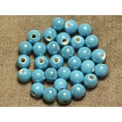 100pc - Perles Céramique Porcelaine irisées Rondes 8mm Bleu Turquoise