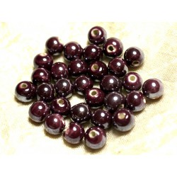 100pc - Perles Céramique Porcelaine irisées Rondes 8mm Violet