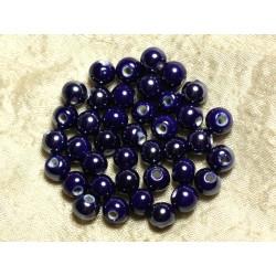 100pc - Perles Céramique Porcelaine irisées Rondes 8mm Bleu nuit