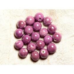 100pc - Perles Céramique Porcelaine Rondes irisées 12mm Violet Rose Mauve