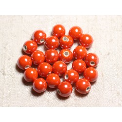 100pc - Perles Céramique Porcelaine Rondes irisées 10mm Orange