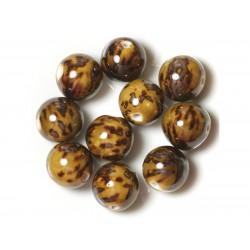 50pc - Perles Céramique Porcelaine Rondes 20mm Jaune Ocre Marron