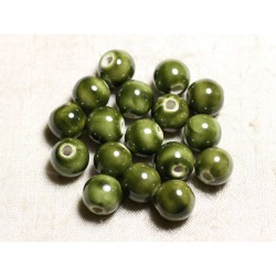 100pc - Perles Céramique Porcelaine Rondes 12mm Vert Kaki