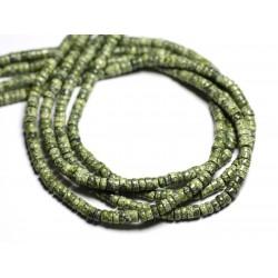 1 Fil 39cm Perles de Pierre - Serpentine Rondelles 4x2mm