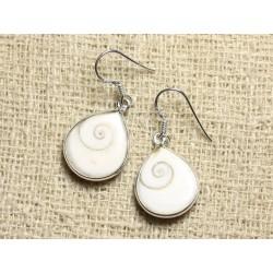 Boucles d'oreilles argent 925 Oeil Shiva Sainte Lucie Gouttes 18mm N2