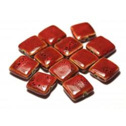 5pc - Perles Céramique Porcelaine Carrés 16-18mm Rouge tacheté - 8741140017115