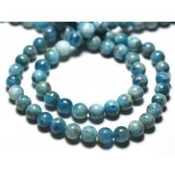 Fil 39cm 67pc env - Perles de Pierre - Apatite bleu vert paon Boules 6mm