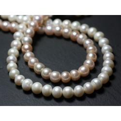 30pc - Perles culture eau douce Boules 2-4mm Blanc irisé - 7427039729406