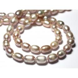 10pc - Perles culture eau douce Olives 8-12mm Rose clair pastel irisé - 7427039729468