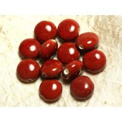 5pc - Perles Céramique Rouge Palets 14mm 4558550108630